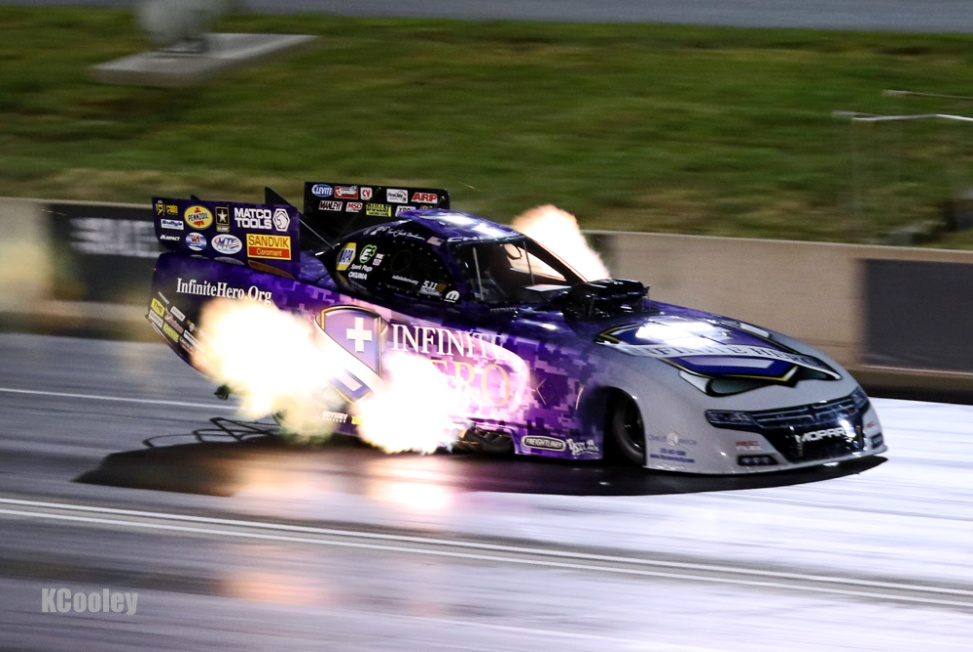 Defending event champ Jack Beckman battled mid-track wheelies in Q1 & 2 but got the car settled down in the final session for a sixth place qualifying slot.