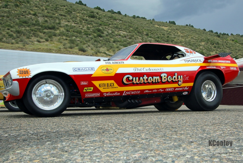 Throughout the season NHRA has been honoring the fiftieth anniversary of the funny car. Ross Howard brought his excellently restored Phil Castronovo Custom Body Challenger to the Mopar sponsored event.
